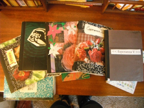 """through high school I had a set of five inspiration journals that I called """"Esperanza"""" (""""hope"""" in Spanish). I started them in 2002, and then it tapered off when I started college in 2004."""