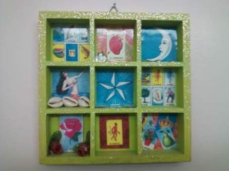 Lotería Mexicana (Mexican Bingo) shadow box wall hanging.