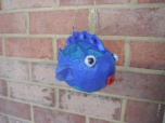 the fourth, blue with blue spots, papier mache fish
