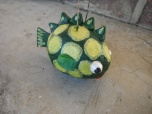 green with yellow polka dot papier mache fish