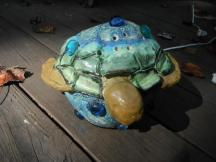 """turtle/moon lamp - playing on the idiom """"once in a blue moon"""" (turtle eggs hatch on the full moon)"""