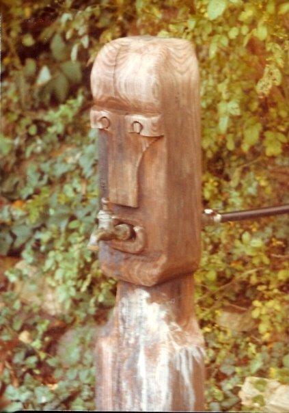 carving of the 'water god' at Willard and Sons' Boatyard long ago - photo by John D. Willard V (c) 2013