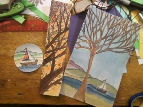 testing out new water color ideas - as you can see Im pretty stuck on sailboats and trees