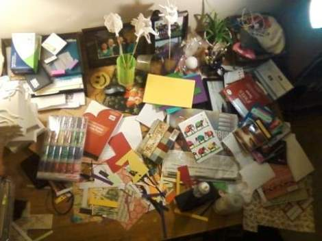view of the 'creation station' and the many ongoing projects that have exploded on the work-table.