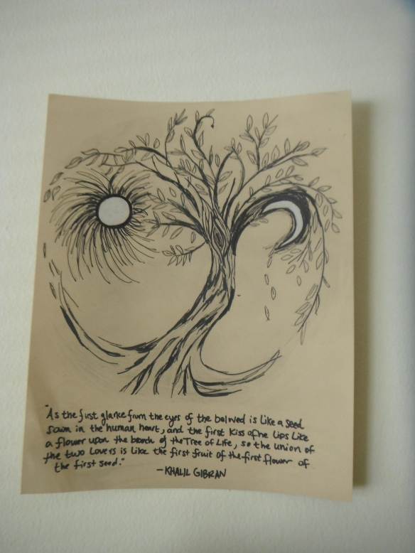 tree of life drawing with kahlil gibran quote