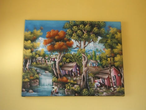 Painting from Haiti of Haitian life.