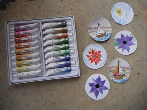 new watercolors, sail boats, and spring blossoms