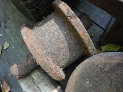These are the wheels from the railway car that would bring boats up out of the water for my family to work on