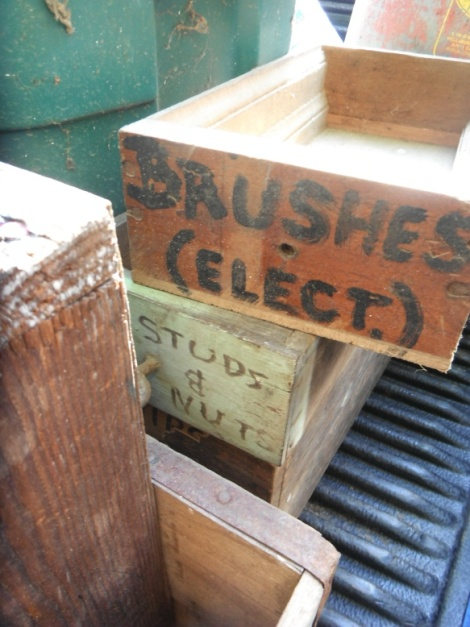 Wooden boxes from Grandpa's and Hidee's shop. We plan to use them in the new woodshop at the Farm in VA. We love that they still have their handwriting.