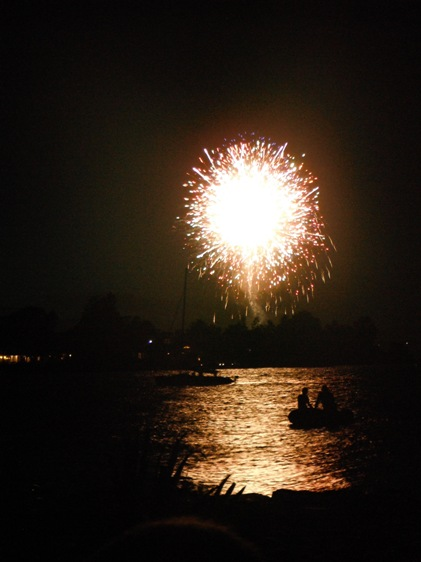 fireworks and silhouettes on Back Creek, Annapolis, Maryland