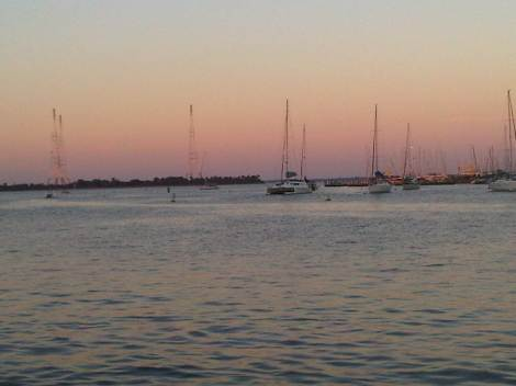 the mouth of the Severn River and radio towers on Greenbury Point, as seen from City Dock, Annapolis, Maryland