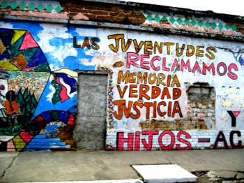 "graffiti by the group H.I.J.O.S. in Guatemala city - ""the youth reclaim memory, truth, justice"""