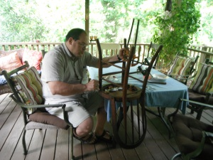dad's repairing the chair