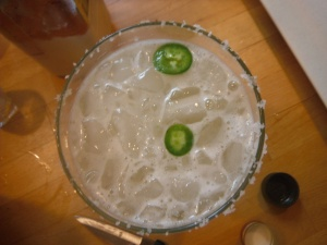 home-infused jalapeno tequila, fresh tequila slices, and Beefy Boy's guatemalan chili pepper finishing salt