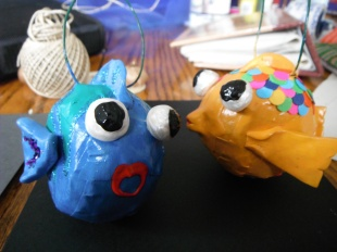 papier mache fish ornaments