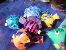 school of papier mache fish ornaments