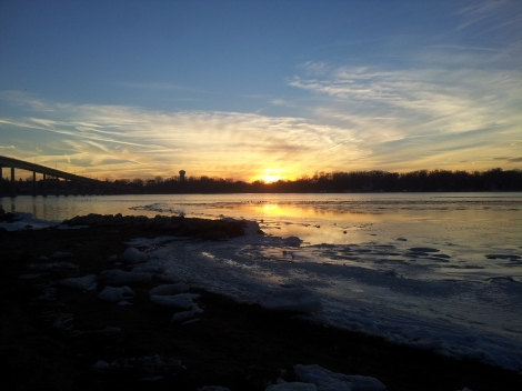 Snowy Sunset on the Severn River