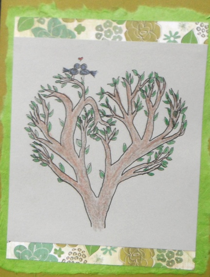 love birds in a love tree - engagement card I made for a close friend