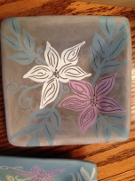floral sgraffito with under-glazes