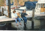 fishing at the boatyard with a family friend
