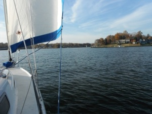 Sailing on Mill Creek with friends in 2012
