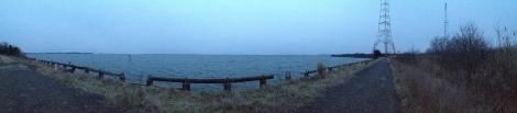 chesapeake bay at dusk in January - panorama