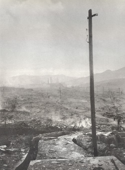 Nagasaki, August 10, 1945; photograph by Yosuke Yamahata; used with permission of copyright holder, Shogo Yamahata/Courtesy: IDG films. Photo restoration by TX Unlimited, San Francisco