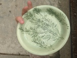 small paten, imprinted hemlock