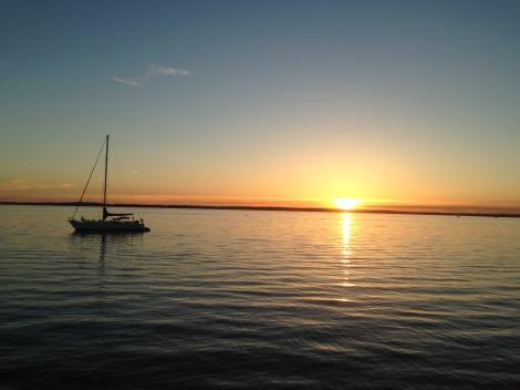 sailboat on Bellingham Bay, WA at sunset