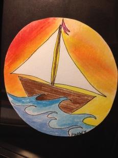 Watercolor sailboat, Annapolis, Maryland